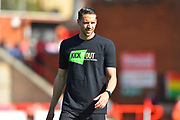 Aaron Martin (5) of Exeter City warming up before the EFL Sky Bet League 2 match between Exeter City and Mansfield Town at St James' Park, Exeter, England on 30 March 2019.
