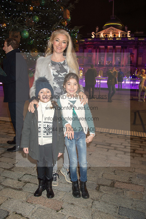 TAMARA BECKWITH and her daughter VIOLET and ? at the launch of Skate at Somerset House in association with Fortnum & Mason held at Somerset House, The Strand, London on 17th November 2015.