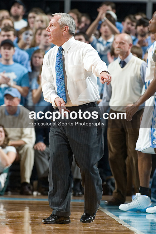 10 January 2007: North Carolina head coach Roy Williams during a 79-69 Virginia Cavaliers loss to the North Carolina Tar Heels, in the Dean E. Smith Center in Chapel Hill, NC.