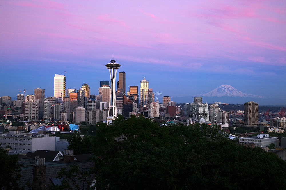 Classic Seattle Washington Skyline at Sunset view from Kerry Park on Queen Anne Hill<br />