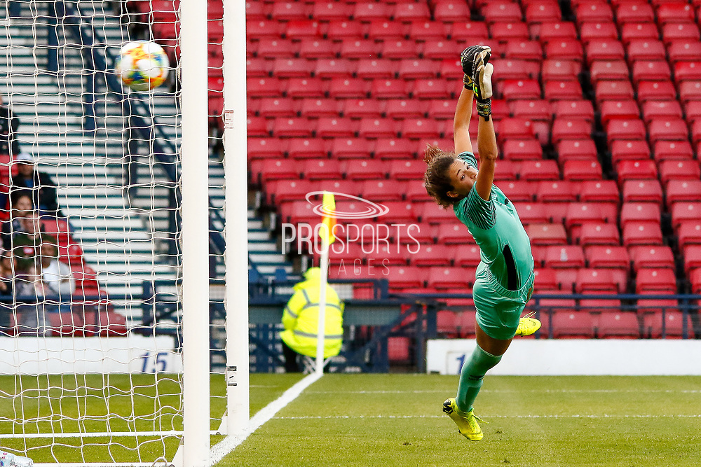 GOAL! The ball sails past the outstretched Jamaican Keeper Sydney SCHNEIDER (Univ. North Carolina (USA)) to give Scotland the lead during the International Friendly match between Scotland Women and Jamaica Women at Hampden Park, Glasgow, United Kingdom on 28 May 2019.