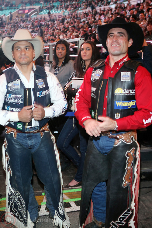 l to r: Ednei Caminhas and Guilherme Marchi at The Professional Bull Rider's Built Ford Tough Invitational Draft held at Madison Square Garden on January 9, 2009 in New York City..The format of the Built Ford Tough Invitational consists of four rounds of competition with the first three rounds featuring the top 45 qualified riders randomly matched against the sport's rankest bulls.