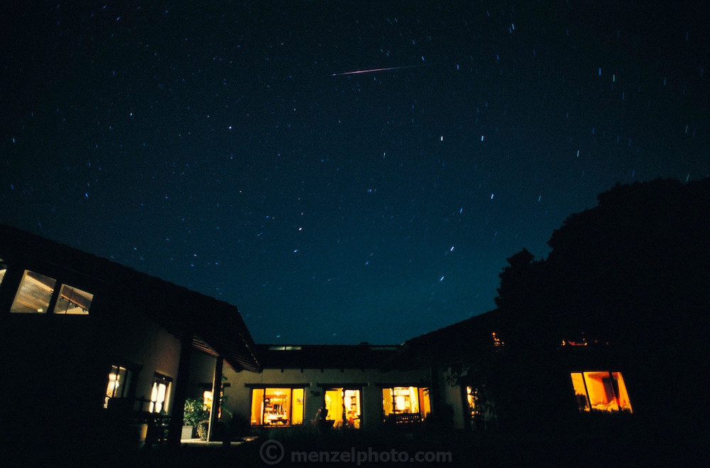 Meteor shower over Menzel residence, Napa Valley, California.