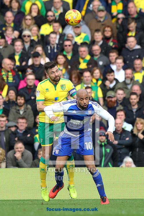 Russell Martin of Norwich and David McGoldrick of Ipswich Town in action during the Sky Bet Championship match at Carrow Road, Norwich<br /> Picture by Paul Chesterton/Focus Images Ltd +44 7904 640267<br /> 26/02/2017
