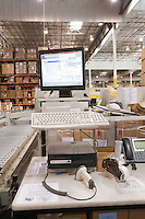 Computer screen in distribution warehouse