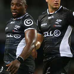 DURBAN, SOUTH AFRICA - MARCH 05: Tendai Beast Mtawarira with  Etienne Oosthuizen of the Cell C Sharks during the 2016 Super Rugby match between Cell C Sharks and Jaguares at Growthpoint Kings Park Stadium on March 05, 2016 in Durban, South Africa. (Photo by Steve Haag/Gallo Images)