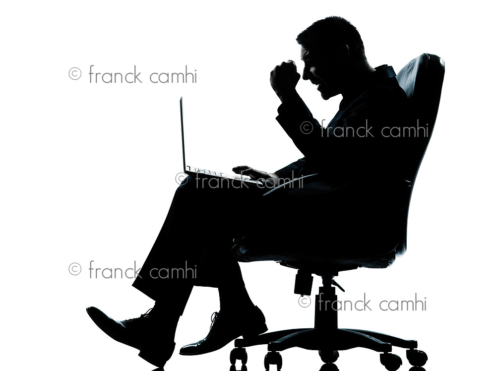one caucasian business man computer computing success  sitting in armchair silhouette Full length in studio isolated on white background