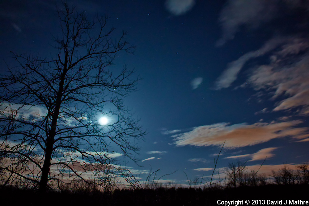 New Jersey Early Spring Night Sky with Moon and Clouds. Image taken with a Nikon 1 V2 and 10 mm f/2.8 lens (ISO 160, 10 mm, f/2.8, 10 sec).
