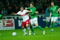 27.11.2011, Weser Stadion, Bremen, GER, 1.FBL, Werder Bremen vs VFB Stuttgart, im BildShinji Okazaki (Stuttgart #31) Philipp Bargfrede (Bremen #44). // during the Match GER, 1.FBL, Werder Bremen vs VFB Stuttgart, Weser Stadion, Bremen, Germany, on 2011/11/27.EXPA Pictures © 2011, PhotoCredit: EXPA/ nph/ Kokenge..***** ATTENTION - OUT OF GER, CRO *****