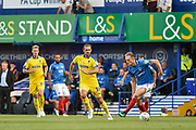 AFC Wimbledon Forward, James Hanson (18) and Portsmouth Defender, Matt Clarke (5) during the Carabao Cup match between Portsmouth and AFC Wimbledon at Fratton Park, Portsmouth, England on 14 August 2018.