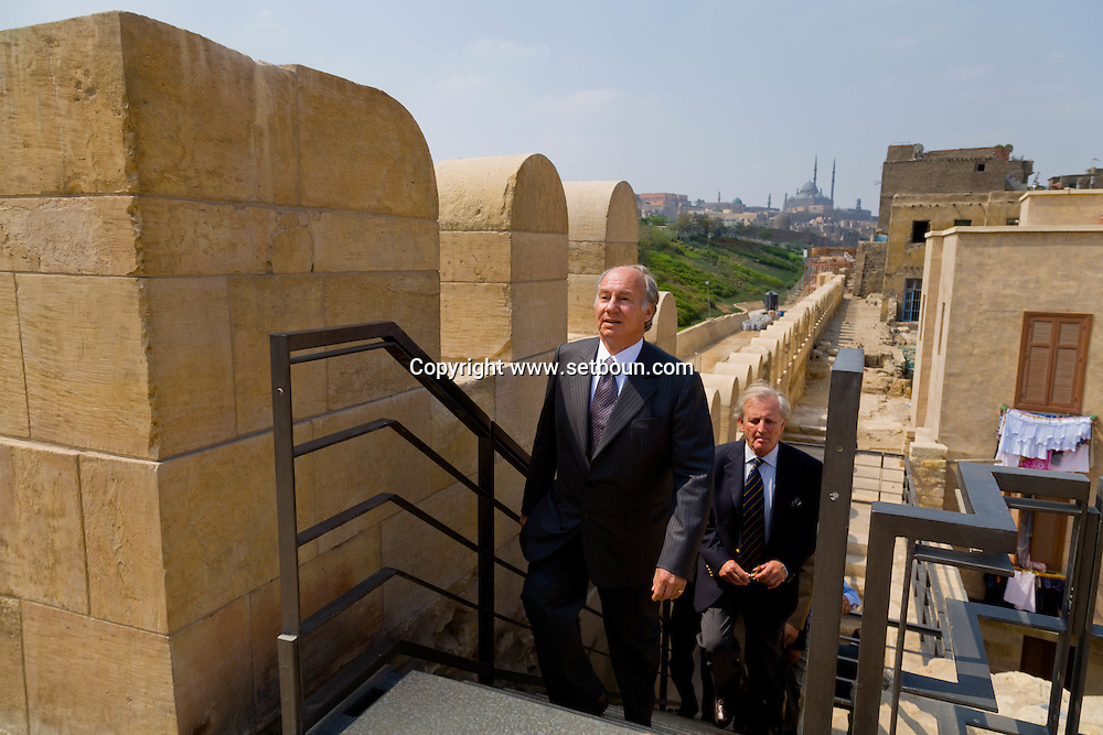Egypt. Cairo : The prince Karim Aga Khan visit Cairo the project of the Aga Khan foundation. Al Azhar Park. Salah El Din walls fortification and the citadel. old islamic city  Cairo  Egypt +