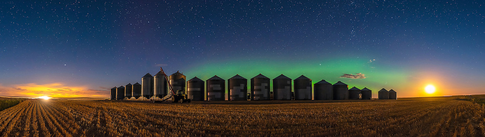 A faint aurora glowing over the harvest in progress this night, with trucks and combines lighting the field at left, and the Harvest Moon itself - actually three days after Full Moon - lighting the scene at right. The combination of lighting from manmade and natural sources makes for an interesting illumination on the grain bins. The Big Dipper is left of centre, pointing down to Arcturus at far left, and Perseus is at right. The Pleiades are just rising over the far right bins.<br /> <br /> This is a 7-segment panorama, with the 20mm lens and Nikon D750. Stitched in ACR.