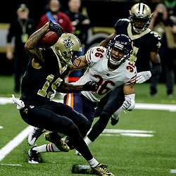 Oct 29, 2017; New Orleans, LA, USA; New Orleans Saints wide receiver Ted Ginn Jr. (19) runs as Chicago Bears safety DeAndre Houston-Carson (36) pursues during the second half of a game at the Mercedes-Benz Superdome. The Saints defeated the Bears 20-12. Mandatory Credit: Derick E. Hingle-USA TODAY Sports