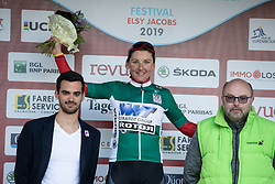 Lisa Brennauer (GER) of WNT Rotor Pro Cycling celebrates winning the points jersey after Stage 2 of 2019 Festival Elsy Jacobs, a 111.1 km road race starting and finishing in Garnich, Luxembourg on May 12, 2019. Photo by Balint Hamvas/velofocus.com