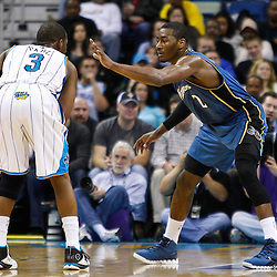 February 1, 2011; New Orleans, LA, USA; Washington Wizards point guard John Wall (2) defends against New Orleans Hornets point guard Chris Paul (3) during the second half at the New Orleans Arena. The Hornets defeated the Wizards 97-89.  Mandatory Credit: Derick E. Hingle