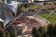 Jay Pritzker Pavilion in Millennium Park from above in Chicago USA