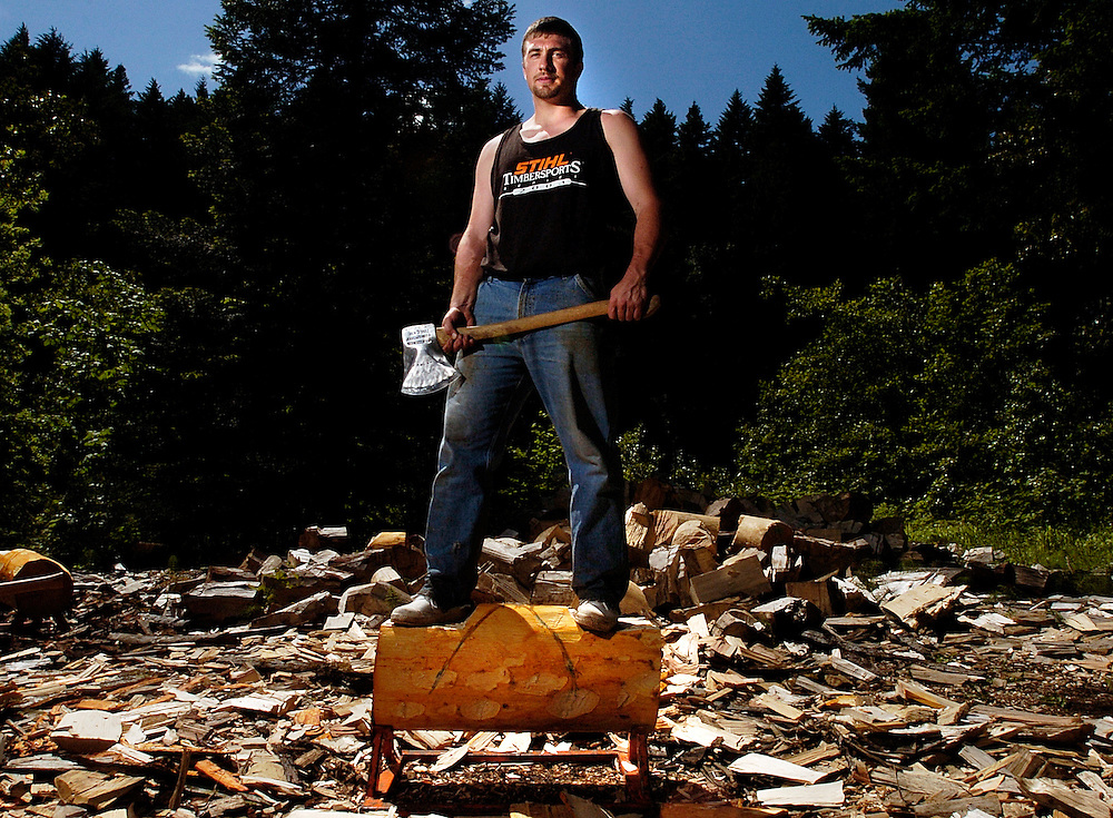 Gary Williamson competes for the Oregon State University logging team.
