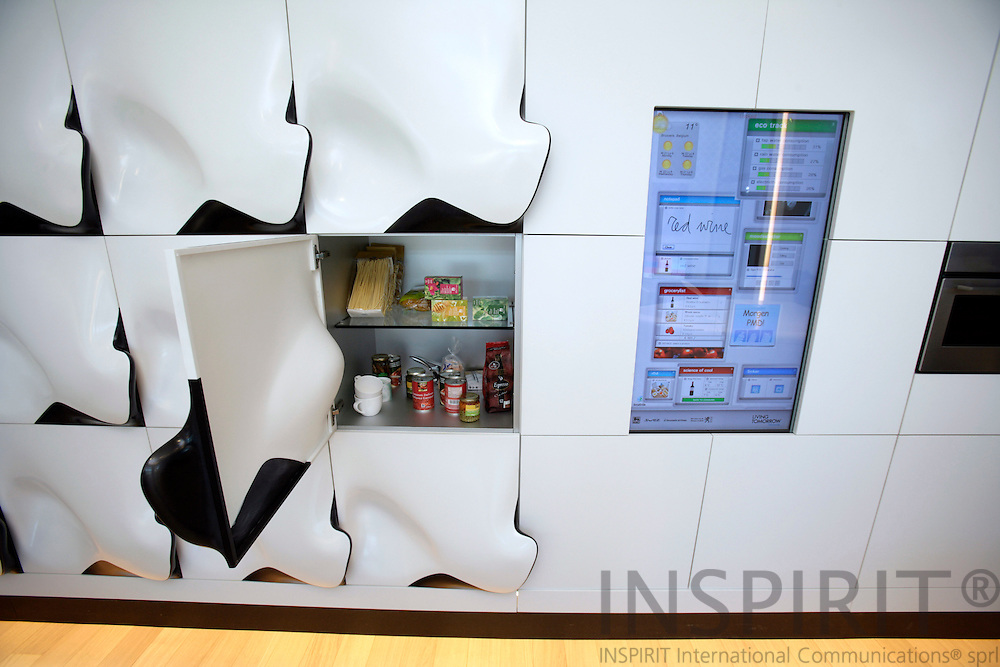 BRUSSELS - BELGIUM - 30 APRIL 2007 -- The future kitchen with a central home computer which is a touch sensitive main screen. One can keep an eye on the energy consumption or the computer can tell you what you have in the fridge and alert you when some items are running low and add them on to your shopping list etc.. Photo: Erik Luntang
