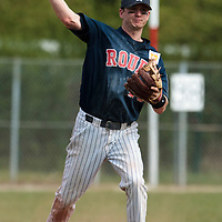25 April 2010: Aaron Hornostaj of Rouen throws the ball to first base during game 2/week 3 of the French Elite season won 12-0 by Rouen over the PUC, at the Pershing Stadium in Vincennes, near Paris, France.