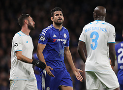 Diego Costa of Chelsea and Bruno Martins Indi ( R ) of FC Porto exchange words after the clash - Mandatory byline: Paul Terry/JMP - 09/12/2015 - Football - Stamford Bridge - London, England - Chelsea v FC Porto - Champions League - Group G