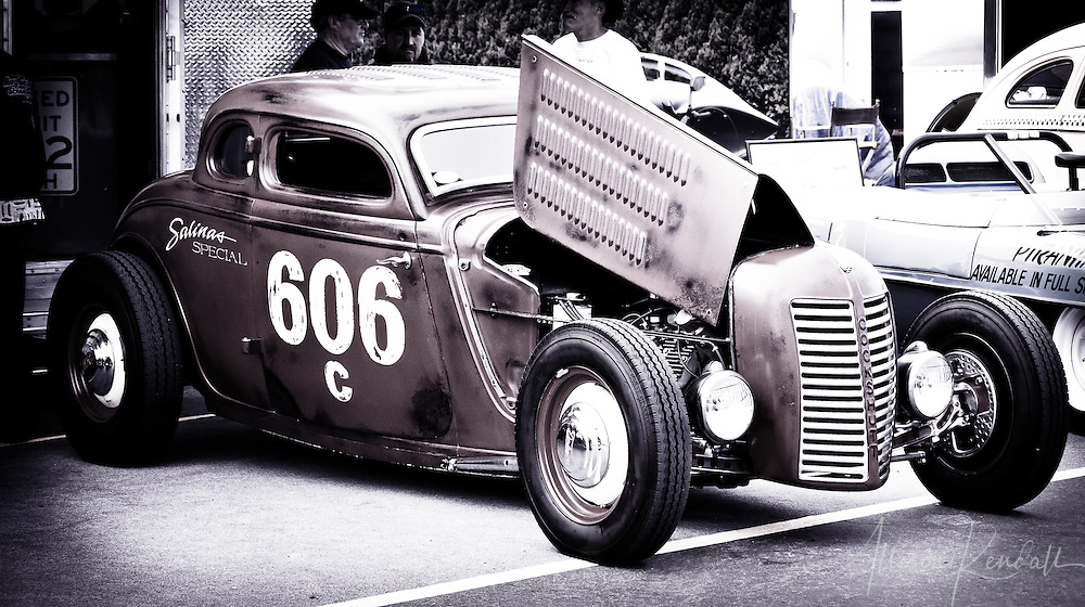 'Salinas Special', hot rod in the paddock at Laguna Seca, during the Reunion events of Monterey Car Week