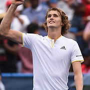 ALEXANDER ZVEREV plays to the crowd after winning the men's singles final at the Citi Open at the Rock Creek Park Tennis Center in Washington, D.C. Zverev beat Kevin Anderson 6-4, 6-4.