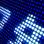Abstract grid of electric LED light dots (Shanghai, China - Sep. 2008) (Image ID: 080925-1827011a)