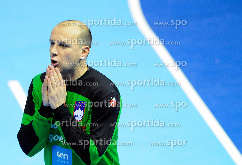 Slovenian Goalkeeper Gorazd Skof  during the match against South Korea at the world championship handball 2013