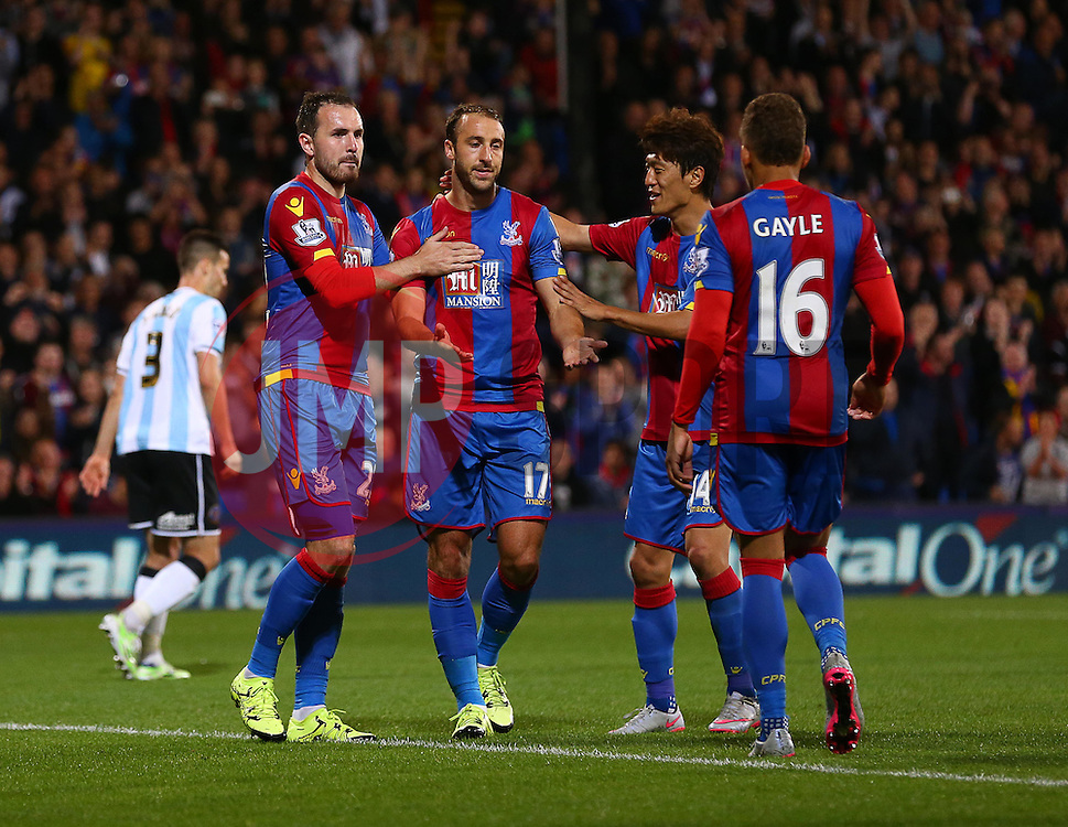 Glenn Murray ( 2nd L ) of Crystal Palace celebrates after he scores from the penalty spot to make it 2-1 - Mandatory byline: Paul Terry/JMP - 07966386802 - 25/08/2015 - FOOTBALL - Selhurst Park -London,England - Crystal Palace v Shrewsbury town - Capital One Cup - Second Round