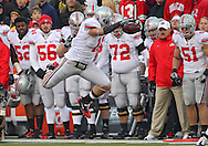 November 20 2010: Ohio State Buckeyes tight end Jake Stoneburner (11) jumps for extra yards during the third quarter of the NCAA football game between the Ohio State Buckeyes and the Iowa Hawkeyes at Kinnick Stadium in Iowa City, Iowa on Saturday November 20, 2010. Ohio State defeated Iowa 20-17.