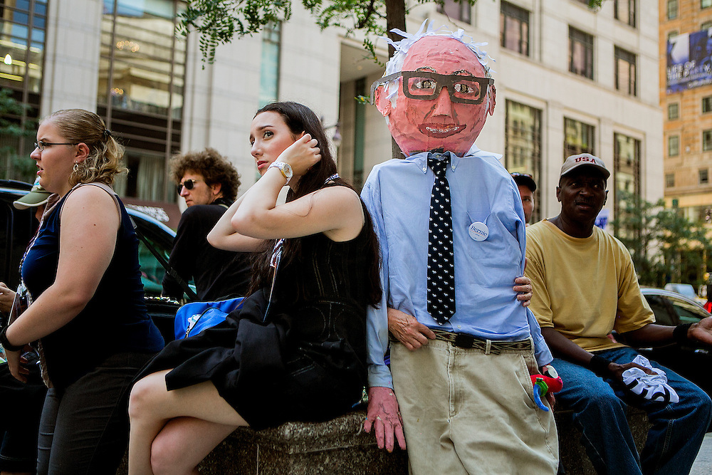 PHILADELPHIA, PA - JULY  25, 2016: Protesters demonstrate outside of Philadelphia City Hall in support of Democratic presidential candidate Bernie Sanders in Philadelphia, Pennsylvania. CREDIT: Sam Hodgson for The New York Times. <br /> <br /> NYTDNC