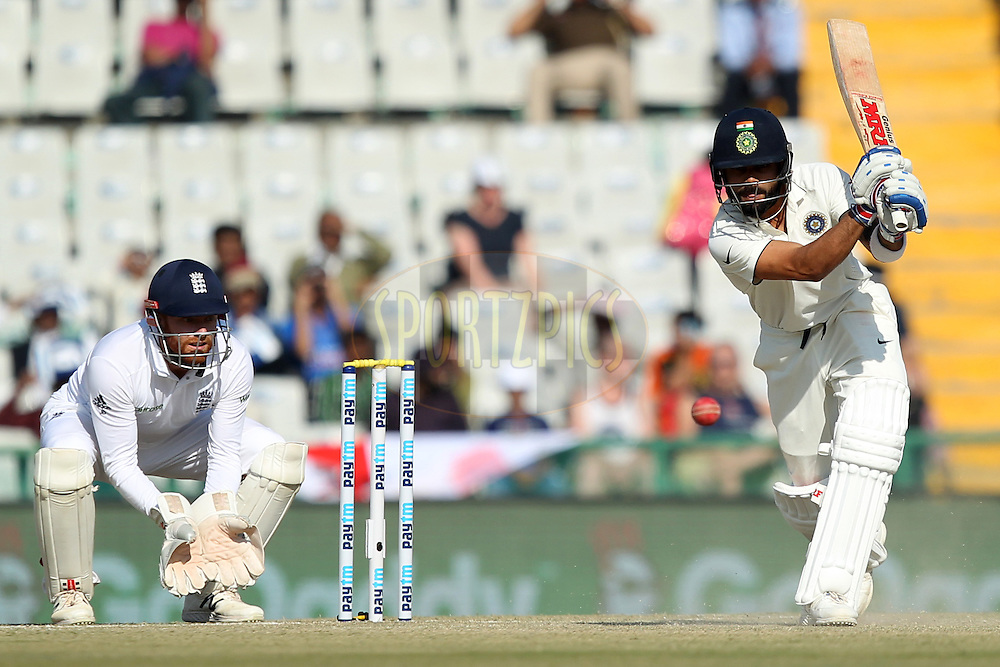 Virat Kohli captain of India in action during day 2 of the third test match between India and England held at the Punjab Cricket Association IS Bindra Stadium, Mohali on the 27th November 2016.Photo by: Prashant Bhoot/ BCCI/ SPORTZPICS