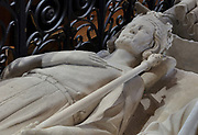 Effigy of Carloman, 751-71, king of the Franks 768-71, son of Pepin the Short and brother of Charlemagne, in the Basilique Saint-Denis, Paris, France. Saint-Louis commissioned this tomb in 1263-64 and his body was brought here from Reims. The basilica is a large medieval 12th century Gothic abbey church and burial site of French kings from 10th - 18th centuries. Picture by Manuel Cohen