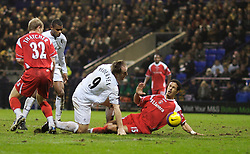Bolton, England - Wednesday, January 31, 2007: Charlton Athletic's Talal El Karkouri handles the ball in the penalty area under pressure from Bolton Wanderers' Henrik Pedersen during the Premiership match at the Reebok Stadium. (Pic by David Rawcliffe/Propaganda)