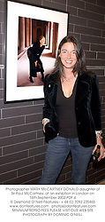 Photographer MARY McCARTNEY DONALD daughter of Sir Paul McCartney, at an exhibtion in London on 16th September 2002.PDF 4