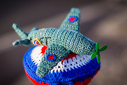 © Licensed to London News Pictures. 29/03/2018. Thirsk UK. The North Yorkshire town of Thirsk has been yarn bombed with tiny woollen RAF aircraft & Royal Air Force roundels to celebrate the RAF turning one hundred years old this weekend. Photo credit: Andrew McCaren/LNP