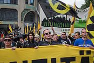 Berlin, Germany - 17.06.2016 <br /> <br /> Approximately 100 participants join a protest organized by the far right-wing Identitarian movement. The participants of this first Identitarian rally in Berlin came from different cities in Germany. The demonstration was accompanied by counter- protests of several hundred people who gathered at the edge of the cordoned march route. On Leipziger Strasse block counter demonstrators the route, it led to the premature termination of the march. During the protests several counter-demonstrators were arrested.<br /> <br /> Etwa 100 Teilnehmer konnte die rechtsradikale Identitaere Bewegung zu ihrem ersten Aufmarsch in Berlin mobilisieren, die Teilnehmer reisten aus unterschiedlichen St&auml;dten des Bundesgebiets an. Die Demonstration wurde von Gegenprotesten einiger hundert Menschen begleitet die sich am Rand der Abgesperrten Aufzugsstrecke versammelten. Auf der Leipziger Stra&szlig;e blockieren Gegendemonstranten mit zwei Menschen-Blockaden die Route, dies fuehrte zur vorzeitigen Beendigung des Aufmarsches. Bei den Protesten wurde mehrere Gegendemonstranten festgenommen.<br /> <br /> Photo: Bjoern Kietzmann