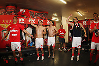 20100509: LISBON, PORTUGAL - SL Benfica vs Rio Ave: Portuguese League 2009/2010, 30th round. Players celebrations in the locker room. In picture: Maxi Pereira, Javier Saviola, Pablo Aimar, Nuno Gomes and Miguel Vitor. PHOTO: CITYFILES
