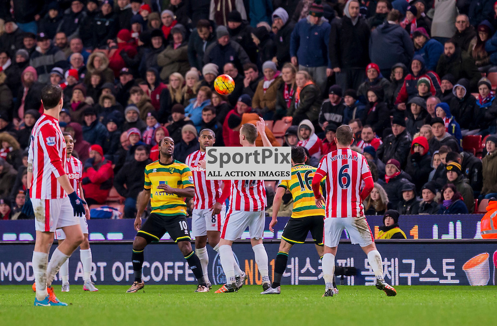 Stoke City defender Ryan Shawcross (17) and Norwich City forward Cameron Jerome (10) challenge for a header