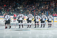 KELOWNA, CANADA - NOVEMBER 8: Payton Lee #1, Mason Geertsen #44, Dmitry Osipov #22, Alec Baer #8, Thomas Foster #16 and Matt Bellerive #14 of Vancouver Giants line up against the Kelowna Rockets on November 8, 2014 at Prospera Place in Kelowna, British Columbia, Canada.   (Photo by Marissa Baecker/Shoot the Breeze)  *** Local Caption *** Payton Lee; Mason Geertsen; Dmitry Osipov; Alec Baer; Thomas Foster; Matt Bellerive;