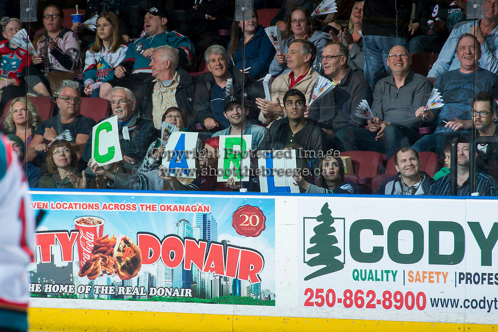 KELOWNA, CANADA - APRIL 25: Fans cheer on Carl Stankowski #1 of the Seattle Thunderbirds against the Kelowna Rockets on April 25, 2017 at Prospera Place in Kelowna, British Columbia, Canada.  (Photo by Marissa Baecker/Shoot the Breeze)  *** Local Caption ***
