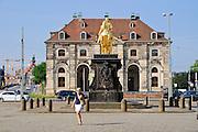 goldener Reiter, Blockhaus, Neustadt, Dresden, Sachsen, Deutschland.|.golden equestrian statue, Blockhaus, Neustadt, Dresden, Germany