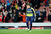 Arsenal attacker Alexis Sanchez (7) warming up during the Champions League round of 16, game 2 match between Arsenal and Bayern Munich at the Emirates Stadium, London, England on 7 March 2017. Photo by Matthew Redman.