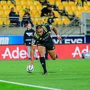 Julian Savea scoring during the Super Rugby union game between Hurricanes and Sunwolves, played at Westpac Stadium, Wellington, New Zealand on 27 April 2018.   Hurricanes won 43-15.