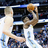 06 March 2016: Denver Nuggets guard Emmanuel Mudiay (0) goes for the jump shot during the Denver Nuggets 116-114 overtime victory over the Dallas Mavericks, at the Pepsi Center, Denver, Colorado, USA.