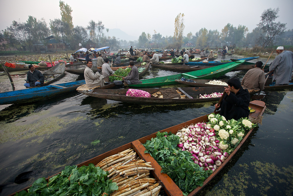 Dal Lake Srinagar, Kashmir, India. Floating Market at dawn on Dal Lake.