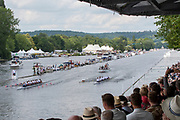 Henley on Thames, England, United Kingdom, Sunday, 07.07.19, United States Armed Forces, U.S.A. (top) and<br /> Bundeswehr, Germany, (bottom), passing the Enclosures, in the Final, of the King's Cup, Henley Royal Regatta,  Henley Reach, [©Karon PHILLIPS/Intersport Images]<br /> <br /> 15:06:53 1919 - 2019, Royal Henley Peace Regatta Centenary,