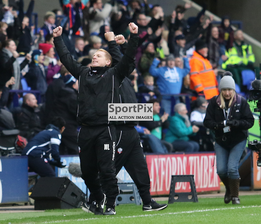 Neil Lennon shows sheer delight at the final whistle...... Bolton Wanderers FC v Blackburn Rovers FC Sky Bet Championship 28th December 2015 (c) EDDIE LINTON | SportPix.org.uk