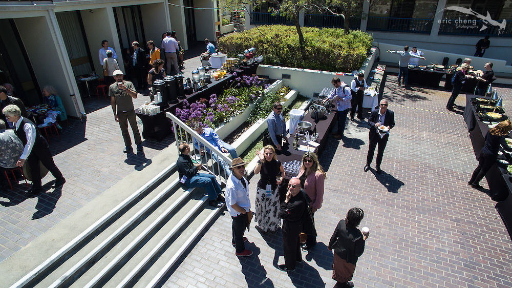 Aerial shot of the Monterey Conference Center courtyard during e.g.