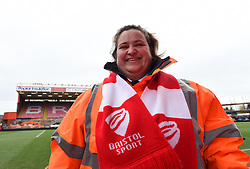 Everyone sported a red and white scarf to support Bristol City in their tough FA Cup tie against West Ham United - Photo mandatory by-line: Paul Knight/JMP - Mobile: 07966 386802 - 25/01/2015 - SPORT - Football - Bristol - Ashton Gate - Bristol City v West Ham United - FA Cup fourth round